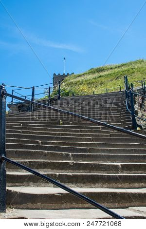 View Up The 199 Steps To Whitby Abbey