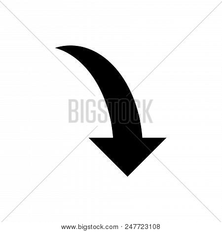 Curve Arrow Down Vector Icon Flat Style Illustration For Web, Mobile, Logo, Application And Graphic