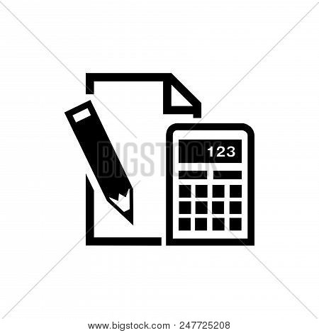 Paper, Pencil, Calculator Vector Icon Flat Style Illustration For Web, Mobile, Logo, Application And