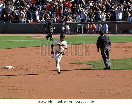Giants Andres Torres Passes 2Nd Base As He Rounds The Bases
