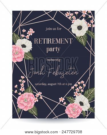Retirement Party Invitation. Design Template With Rose Gold Polygonal Frame And Floral Elements In W