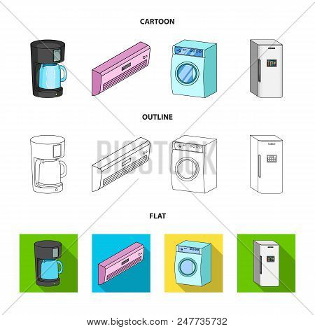 Home Appliances And Equipment Cartoon, Outline, Flat Icons In Set Collection For Design.modern House