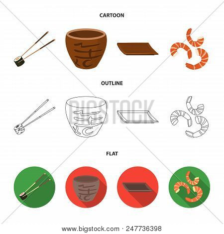 Sticks, Shrimp, Substrate, Bowl.sushi Set Collection Icons In Cartoon, Outline, Flat Style Vector Sy