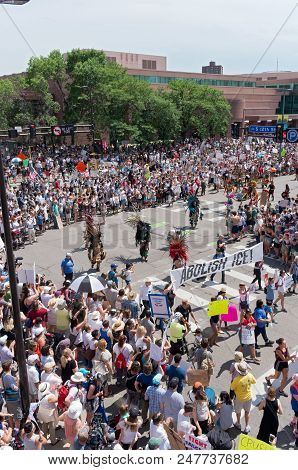 Mpls, Mn/usa - June 30, 2018: Protesters Line Streets In Support Of The National Rally Families Belo