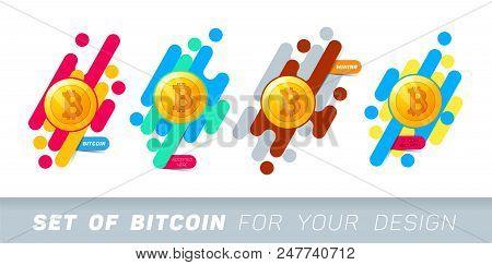 Bitcoin Concept. Bitcoin Logo Sign. Blockchain. Golden Coin With Bitcoin Symbol. Digital Money. Vect
