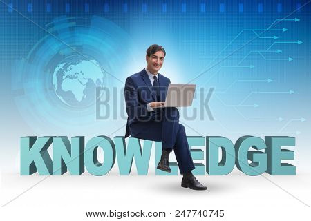 Businessman in telelearning concept with laptop