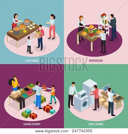 Sharing Economy Isometric 2x2 Design Concept With Compositions Of People Sharing Food Books And Hous