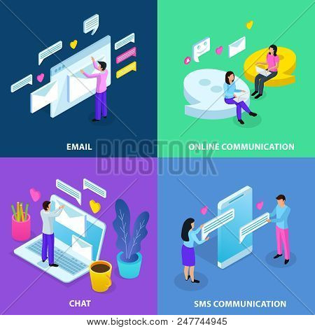 Virtual Communication Isometric 4 Colorful Background Icons Concept With Email Chat Sms Online Datin