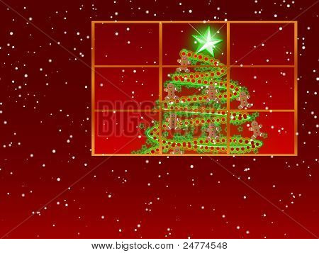 Window With Christmas Tree Decorated With Red Garland, Green Stars And Gingerbread Men