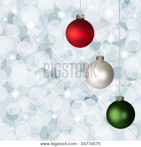 White, Red And Green Christmas Ornaments On Silver Bokeh Background