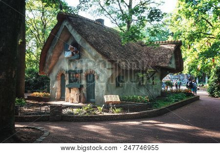 Kaatsheuvel, Netherlands, August 19 , 2017: The Sweet Little House Of Wife Holle In The Fairytale Fo