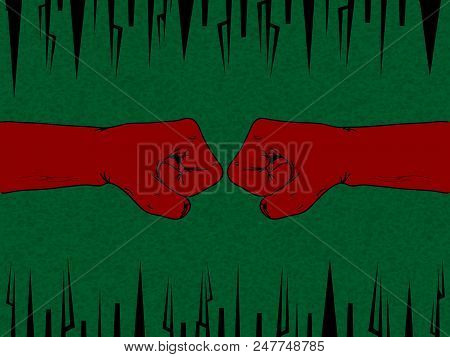 Two Red Fist Facing Each Other Hand Drawn Over Green Textured Vintage Background