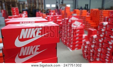 Serbia,march 2016. Nike Sneakers Boxes. Nike, Multinational Company. Product Boxes Shots. Photos Are