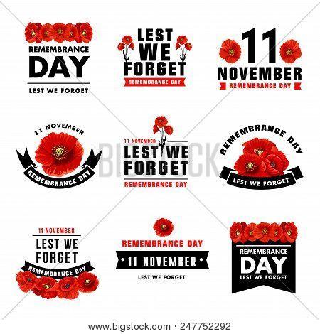 Red Poppy Flower Icon For 11 November Remembrance Day Design. Black Ribbon Banner With Poppy Flower
