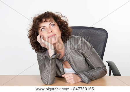 Cheerful Pensive Woman Look Up Think At Future Vacations Boyfriend
