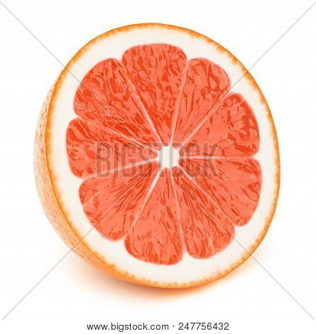 Perfectly retouched sliced half of grapefruit isolated on the white background with clipping path. One of the best isolated grapefruits halves slices that you have seen. poster