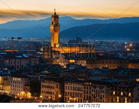 Aerial View On Florence In Early Morning, Italy