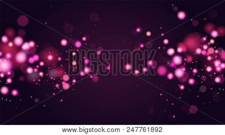 Abstract Defocused Circular Bokeh Sparkle Glitter Lights Background. Magic Christmas Background. Ele