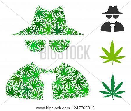 Mafia Boss Mosaic Of Marijuana Leaves In Various Sizes And Green Tinges. Vector Flat Cannabis Symbol