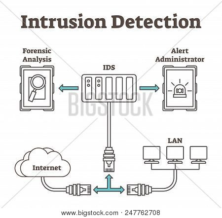 Vector Illustration About Intrusion Detection. Scheme With Forensic Analysis, Ids, Administrator, In