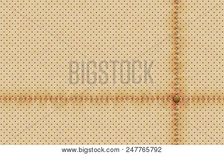 Vector Light Perforated Leather Texture Wallpaper. Realistic Perforated Background With Sewing Line