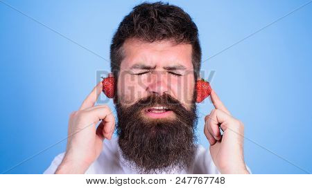 Man Bearded Hipster Red Ripe Strawberry Ears As Headphones. Summer Hit Concept. Summer Playlist Musi