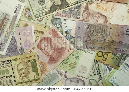 World currencies scattered