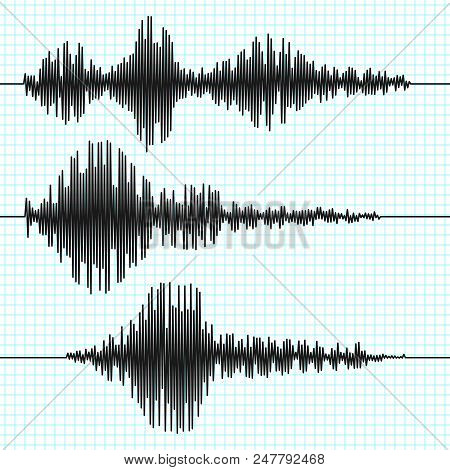Frequency Seismograph Waves, Seismogram, Earthquake Graphs. Seismic Wave Vector Set. Illustration Of