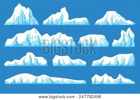 Cartoon Floating Iceberg Vector Set. Ocean Ice Rocks Landscape For Climate And Environment Protectio