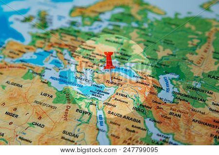 Pins On The Map Close Up To Turkey. Soft Focus