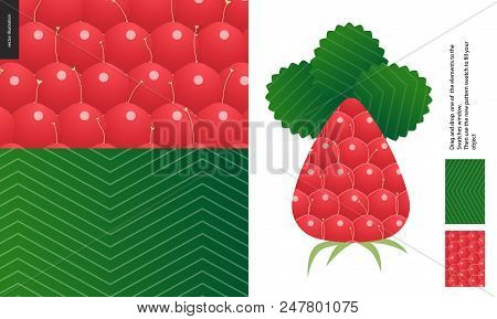 Food Patterns, Summer - Fruit, Raspberry Peel Texture, Flat Vector Illustration, Two Seamless Patter