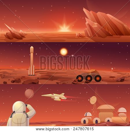 Red Planet Mars Colonization And Exploration. Galaxy Mars Landascape With Rover, Rocket Shuttle, Spa