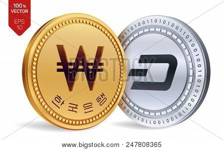 Dash. Won. 3d Isometric Physical Coins. Digital Currency. Korea Won Coin. Cryptocurrency. Golden And