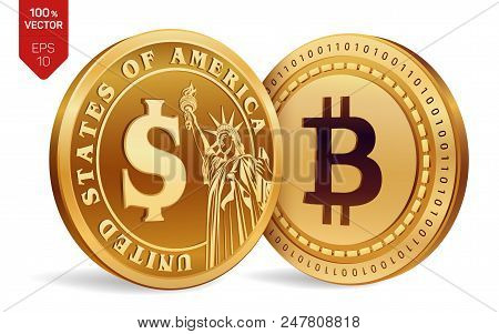 Bitcoin. Dollar Coin. 3d Isometric Physical Coins. Digital Currency. Cryptocurrency. Golden Coins Wi