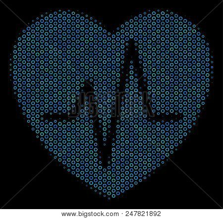 Halftone Cardiology Composition Icon Of Spheric Bubbles In Blue Color Tints On A Black Background. V