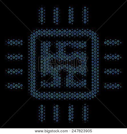 Halftone Cpu Circuit Composition Icon Of Circle Elements In Blue Color Hues On A Black Background. V