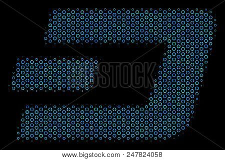 Halftone Dash Currency Composition Icon Of Circle Bubbles In Blue Color Tinges On A Black Background