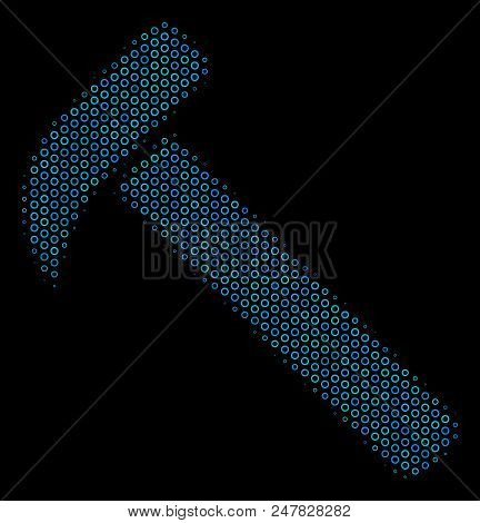Halftone Hammer Collage Icon Of Spheric Bubbles In Blue Color Hues On A Black Background. Vector Sph