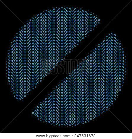 Halftone Pharmacy Tablet Mosaic Icon Of Spheres In Blue Color Tones On A Black Background. Vector Ro