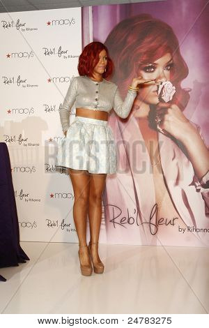 LAKEWOOD, CA - FEB 16: Rihanna at Macy?s in Lakewood, California at the launch of her first fragrance 'Reb?l Fleur' on February 16, 2011