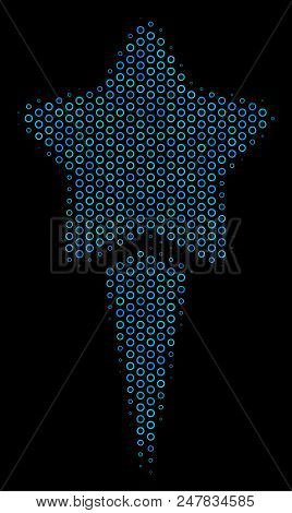 Halftone Starting Star Mosaic Icon Of Circle Bubbles In Blue Color Hues On A Black Background. Vecto