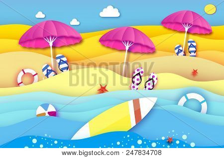 Surfboard. Pink Parasol - Umbrella In Paper Cut Style. Origami Sea And Beach With Lifebuoy. Surf. Sp