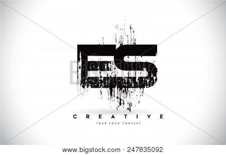 Es E S Grunge Brush Letter Logo Design In Black Colors. Creative Brush Letters Vector Illustration.