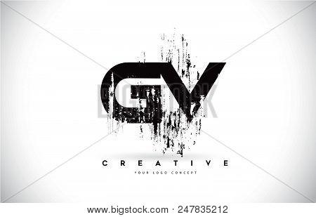 Gv G V Grunge Brush Letter Logo Design In Black Colors. Creative Brush Letters Vector Illustration.