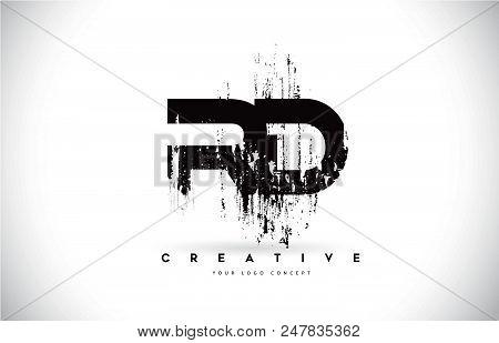 Rd R D Grunge Brush Letter Logo Design In Black Colors. Creative Brush Letters Vector Illustration.