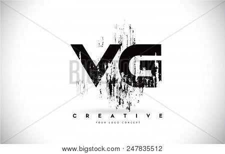 Vg V G Grunge Brush Letter Logo Design In Black Colors. Creative Brush Letters Vector Illustration.