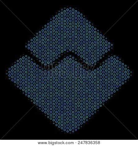 Halftone Waves Currency Mosaic Icon Of Spheric Bubbles In Blue Color Hues On A Black Background. Vec