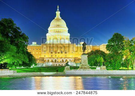 Washington, Usa, United States Capitol, Ulysses S. Grant Memorial.
