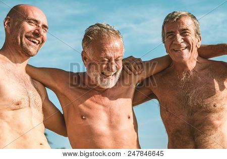 Group of senior adults at the beach