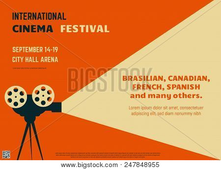 Retro Style International Movie Festival Poster Template. Orange Background And Black Colors. Film F